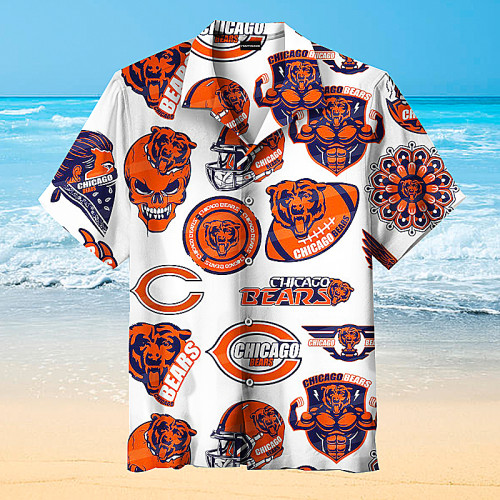 Chicago Bears Print Rugby Hawaiian Shirt