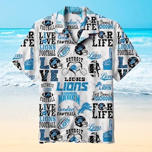 Live & Love Detroit Lions Football Print Hawaiian Shirts