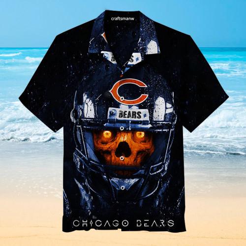 Chicago Bears Skull Print Unisex Hawaiian Shirt