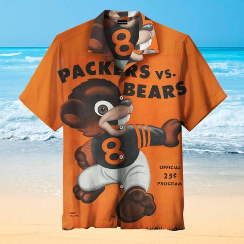 Chicago Bears Vintage Art Print Unisex Hawaiian Shirt