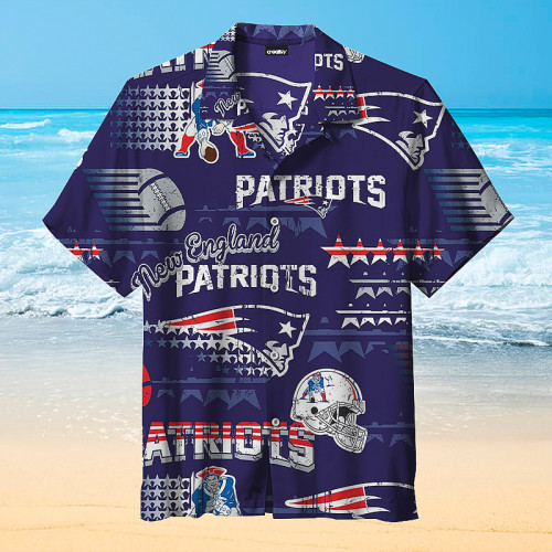 New England Patriots Blue Print Hawaiian Shirt