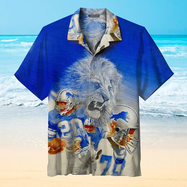 Detroit Lions Retro Print Unisex Hawaiian Shirts