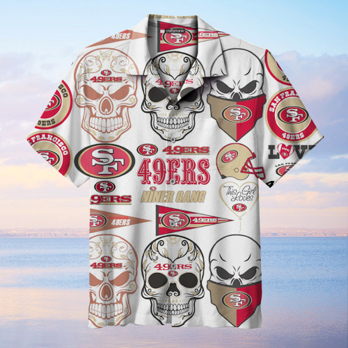 The San Francisco 49ers Skull Print Unisex Hawaiian Shirt