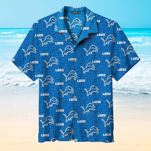 Detroit Lions Blue Print Hawaiian Shirts