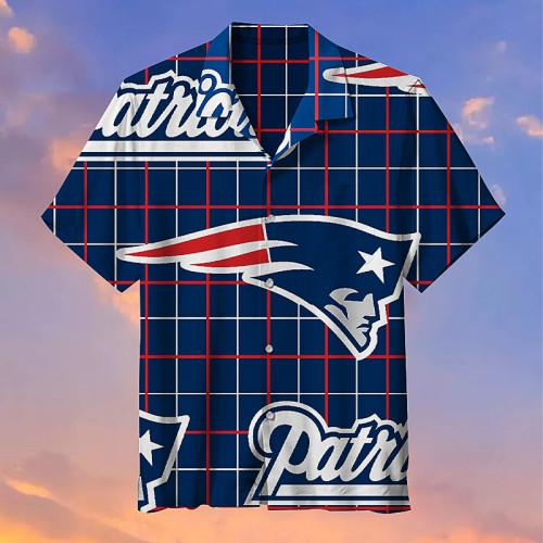 New England Patriots Striped Hawaiian Shirt