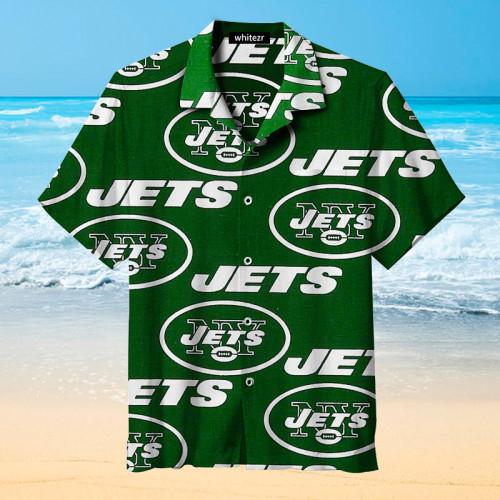 New York Jets Cyan Logo Hawaiian Shirt