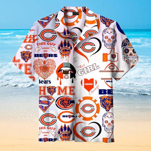 Love My Chicago Bears Art Print Unisex Hawaiian Shirt