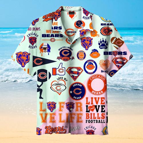Chicago Bears Print Splicing Hawaiian Shirt