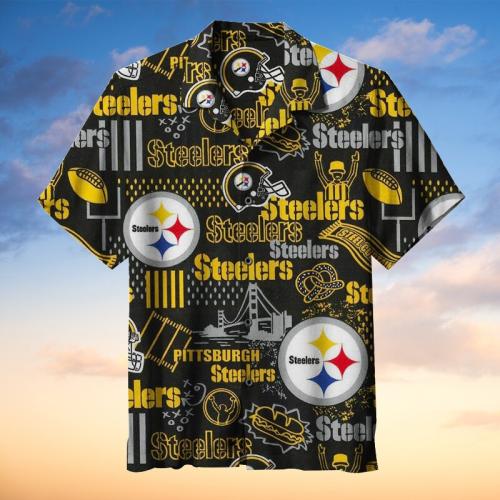 NFL-Pittsburgh Steelers Retro Print Unisex Hawaiian Shirt