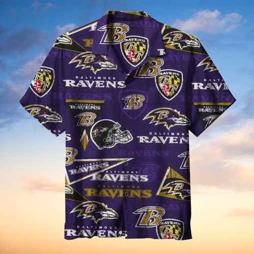 NFL-Baltimore Ravens Retro Print Unisex Hawaiian Shirt