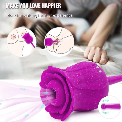 Rose Tongue Vibrating Sucking Vibrator For Women Nipple Sucker Licking G-Spot Clitoris Stimulation Adults Sex Toys For Couple