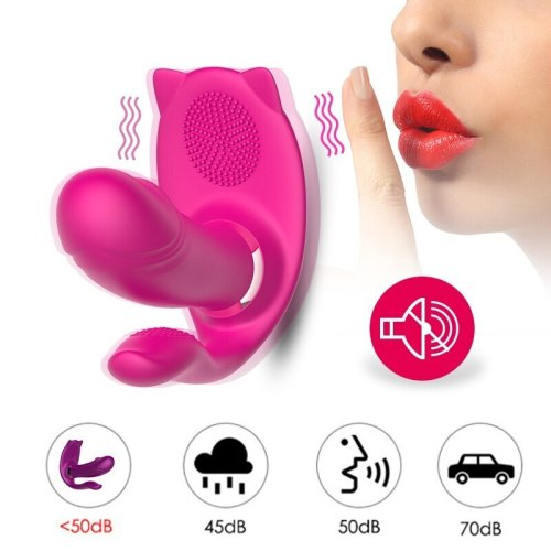 9 Speed Heating Butterfly Dildo Vibrator with Remote Control Pussy Clitoral Stimulator G-Spot Vibrating for Women Adult Supplies
