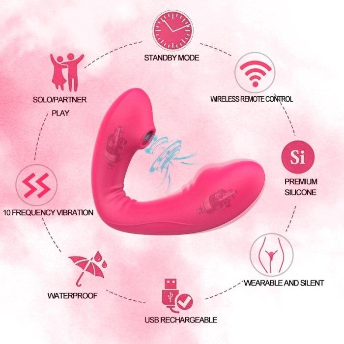 Wireless 10 Speed Sucking Vibrator Remote Control Clitoris Stimulator Erotic Vibrating Vagina Clitoral Clit Sucker Women Sex Toy