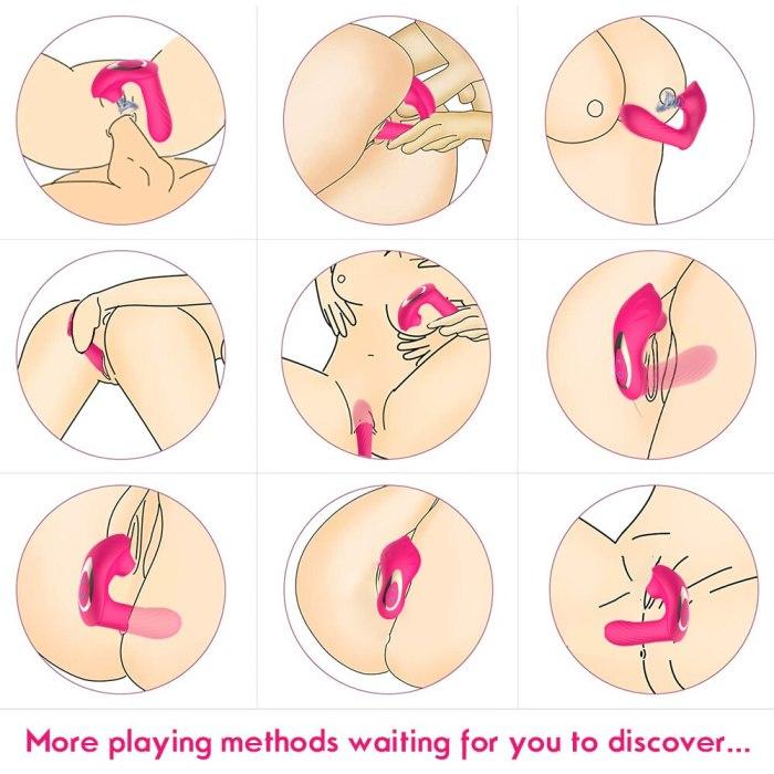 2 IN 1 Sucking Vibrator 10 Mode Vibrating Sucker  Vagina Clitoris Stimulator Wearable Oral Suction Erotic Sex Toys for Women