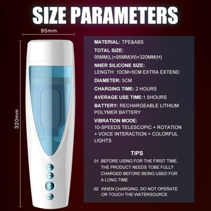Automatic Telescopic Masturbator Male Masturbation Cup Vagina Real Flesh Pussy Rotation Sex Toys for Men with Strong Sucker