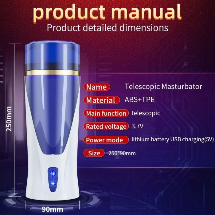 Automatic Male Masturbator Cup Space Masturbation HandsFree Stroker 3 Powerful Thrusting Mode Real Vagina Pocket Sex Toy for Men
