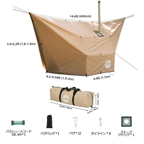 Lonewolf902 ハンモック タープ| TC コットン パップテント ハンモックキャンプ 1-2人用| Lonewolf902 Design