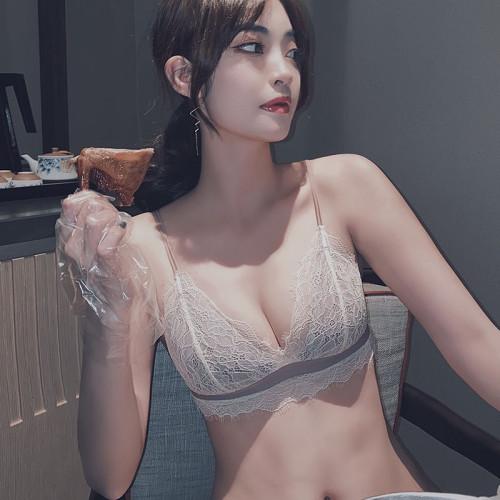 夏季薄款內衣女聚攏大胸顯小無鋼圈文胸超薄bra法式三角杯胸罩