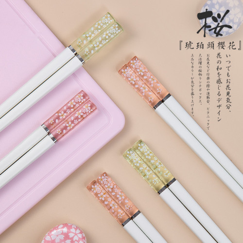 琥珀櫻花合金筷子【耐高溫、不變形、不發黴、耐磨、易清洗!家人更放心~】