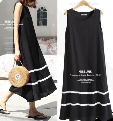 女款日系風寬鬆休亞麻背心裙,傳統工藝,簡尚設計,透氣輕盈舒適。
