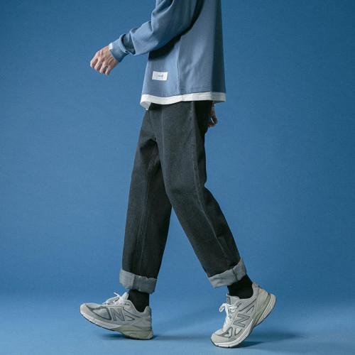 【S-5XL碼,45-125公斤可穿】獨特風格有你掌握!Chic搭配帥氣九分牛仔褲 水洗不掉色、耐髒耐磨!
