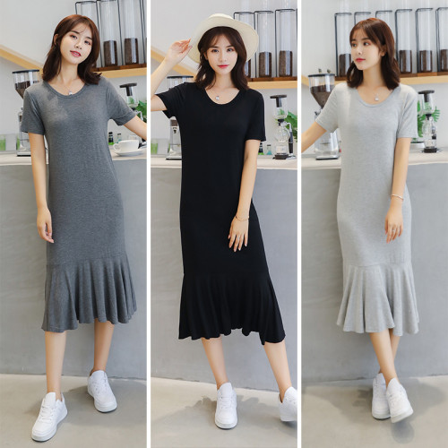 2021夏季新款莫代爾連衣裙【女大碼寬鬆短袖顯瘦拼接魚尾裙打底長裙】