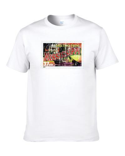 Greetings From Mississippi Stamp Collector Gift Worn Look Men T Shirt