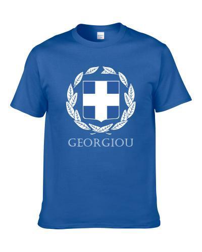 Georgiou Greek Last Name Custom Surname Greece Coat Of Arms Shirt For Men