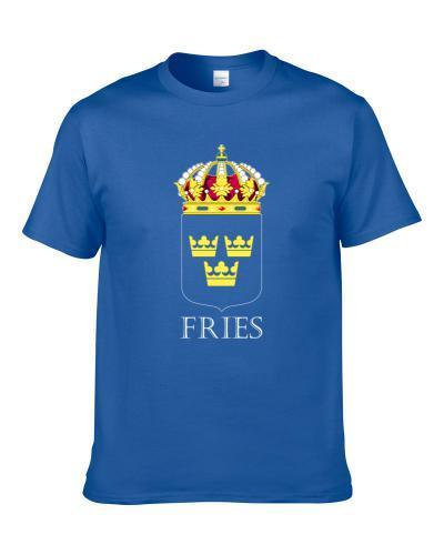Fries Swedish Last Name Custom Surname Sweden Coat Of Arms Shirt For Men