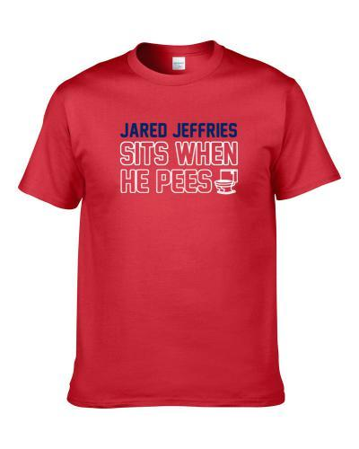 Jared Jeffries Sits When He Pees Washington Basketball Player Funny Sports Men T Shirt
