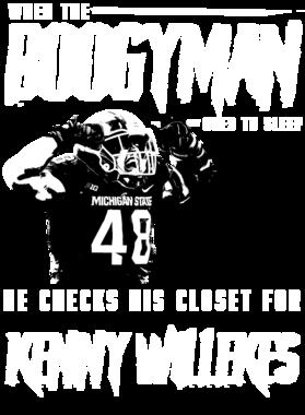 Boogyman Sleeps He Checks For Kenny Willekes Michigan State Football TEE