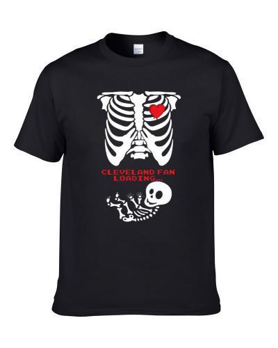 Cleveland Football Fan Loading Cute Sports Team Maternity Skeleton Ladies Shirt