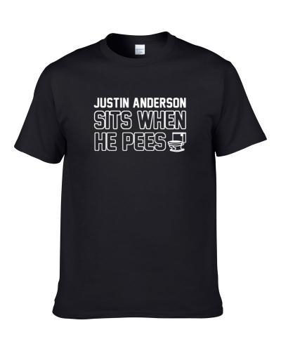 Justin Anderson Sits When He Pees New Orleans Football Player Funny Sports S-3XL Shirt