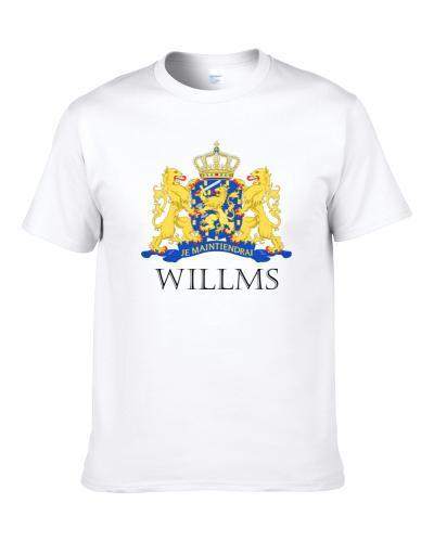 WILLMS Dutch Last Name Surname Holland Netherlands Coat Of Arms S-3XL Shirt