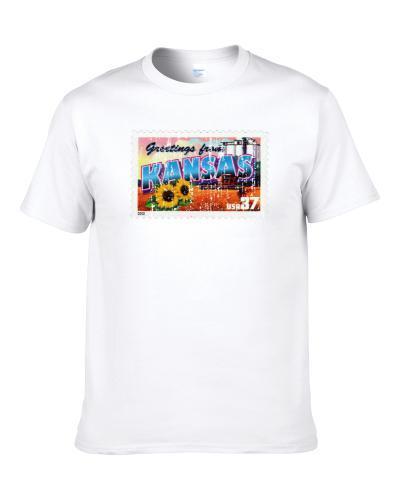 Greetings From Kansas Stamp Collector Gift Worn Look Men T Shirt