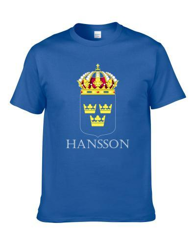 Hansson Swedish Last Name Custom Surname Sweden Coat Of Arms T Shirt