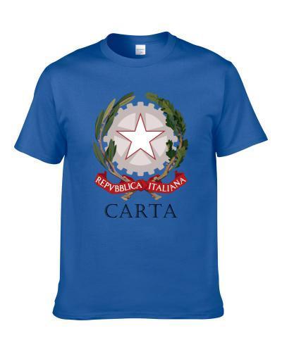 Carta Italian Last Name Custom Surname Italy Coat Of Arms T Shirt