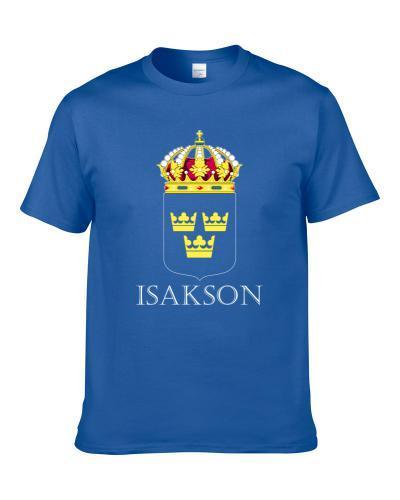 Isakson Swedish Last Name Custom Surname Sweden Coat Of Arms T Shirt
