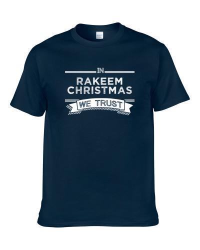 In Rakeem Christmas We Trust Indiana Basketball Players Cool Sports Fan Men T Shirt