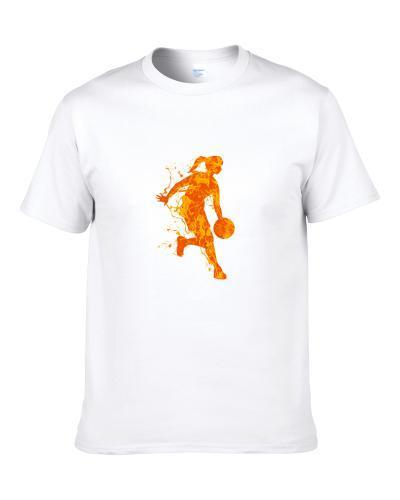 Woman Basketball Player Splash Paint On A White Background T-Shirt