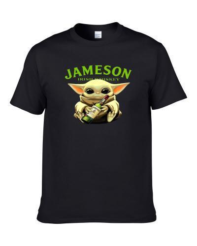 Baby Joda Drinking Irish Whiskey Star Wars Mandolorian Fan Mug Men T Shirt
