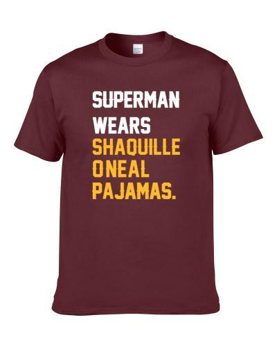 Superman Wears Shaquille O Neal Pajamas Cleveland Basketball Player Cool Fan T-Shirt