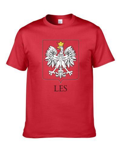 Les Polish Last Name Custom Surname Poland Coat Of Arms S-3XL Shirt