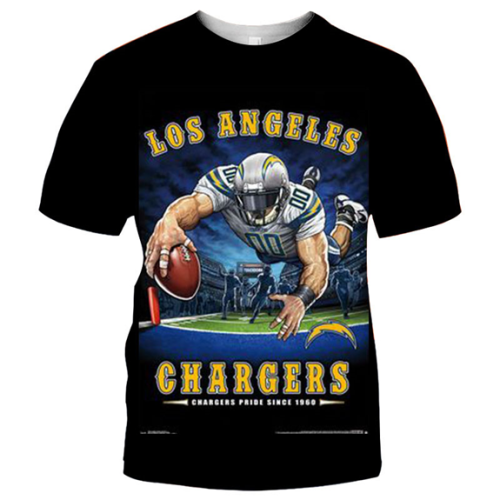 Los Angeles Chargers Football Black T-shirt (#K88)