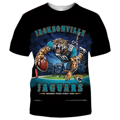 Jacksonville Jaguars Football Black T-shirt (#K82)