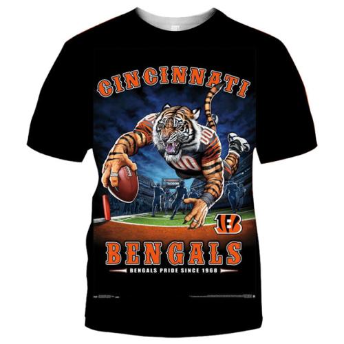 Cincinnati Bengals Football Black T-shirt (#K86)