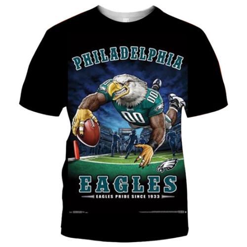 Philadelphia Eagles Football Black T-shirt (#K63)