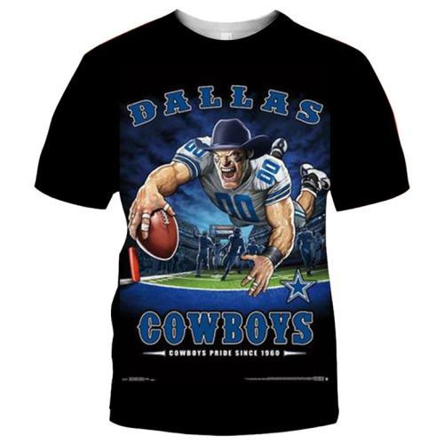 Dallas Cowboys Football Black T-shirt (#K59)