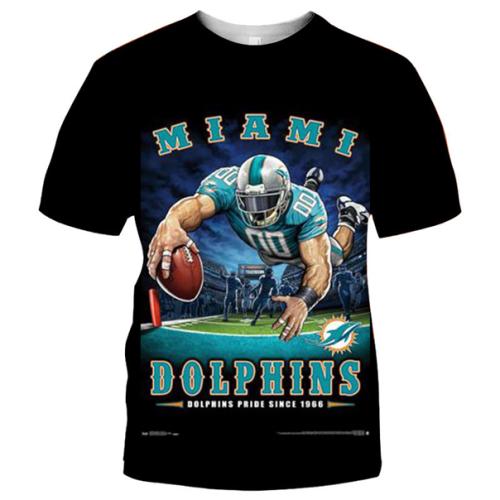Miami Dolphins Football Black T-shirt (#K76)