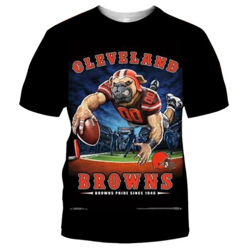 Cleveland Browns Football Black T-shirt (#K89)